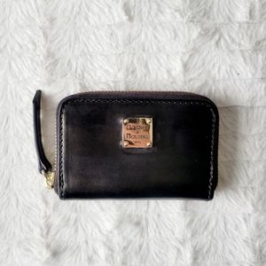 Mini zip wallet coin purse card holder leather
